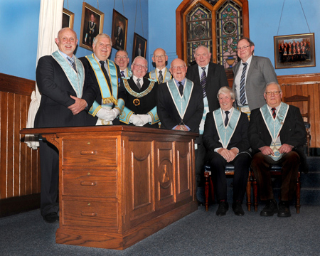 Officers of Lodge 470 with visiting Brethren at the Desk dedication.