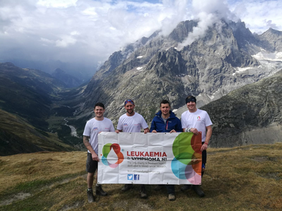 David Sharkey, Bro Lee Williamson, Lester Weir and Bro Barry Williamson on Mont Blanc.